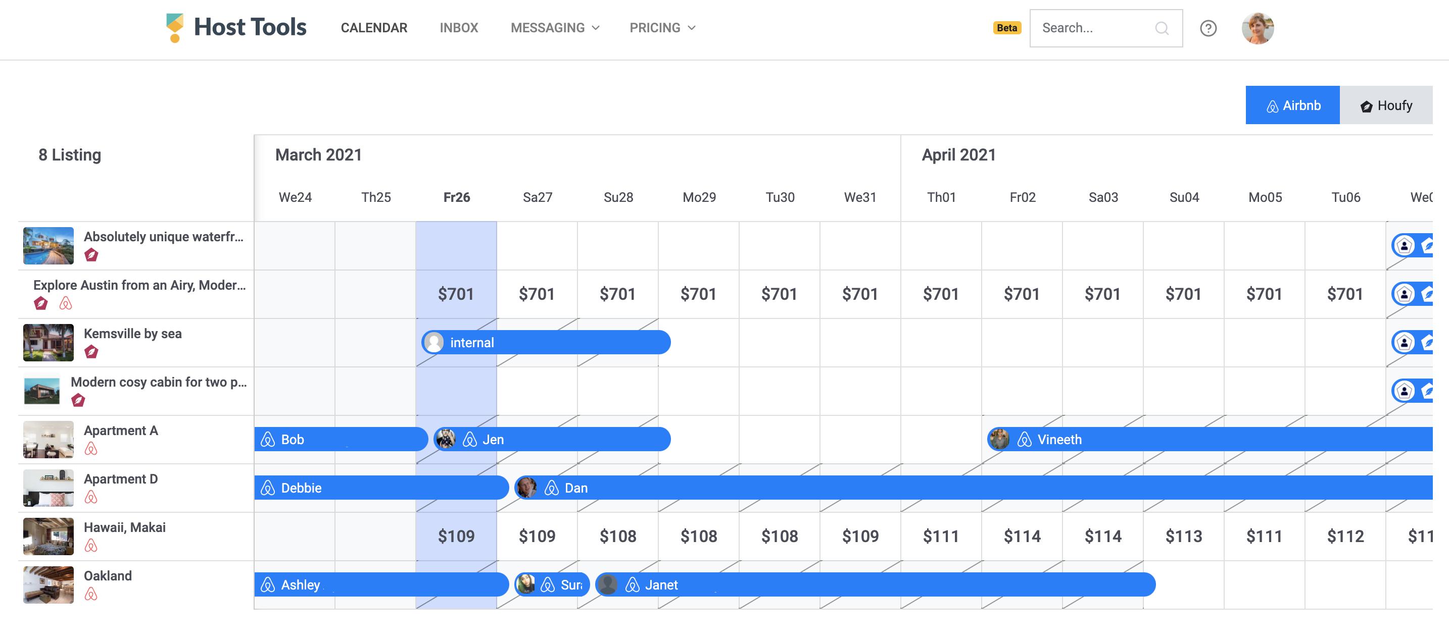Preview of Host Tools multi-calendar.