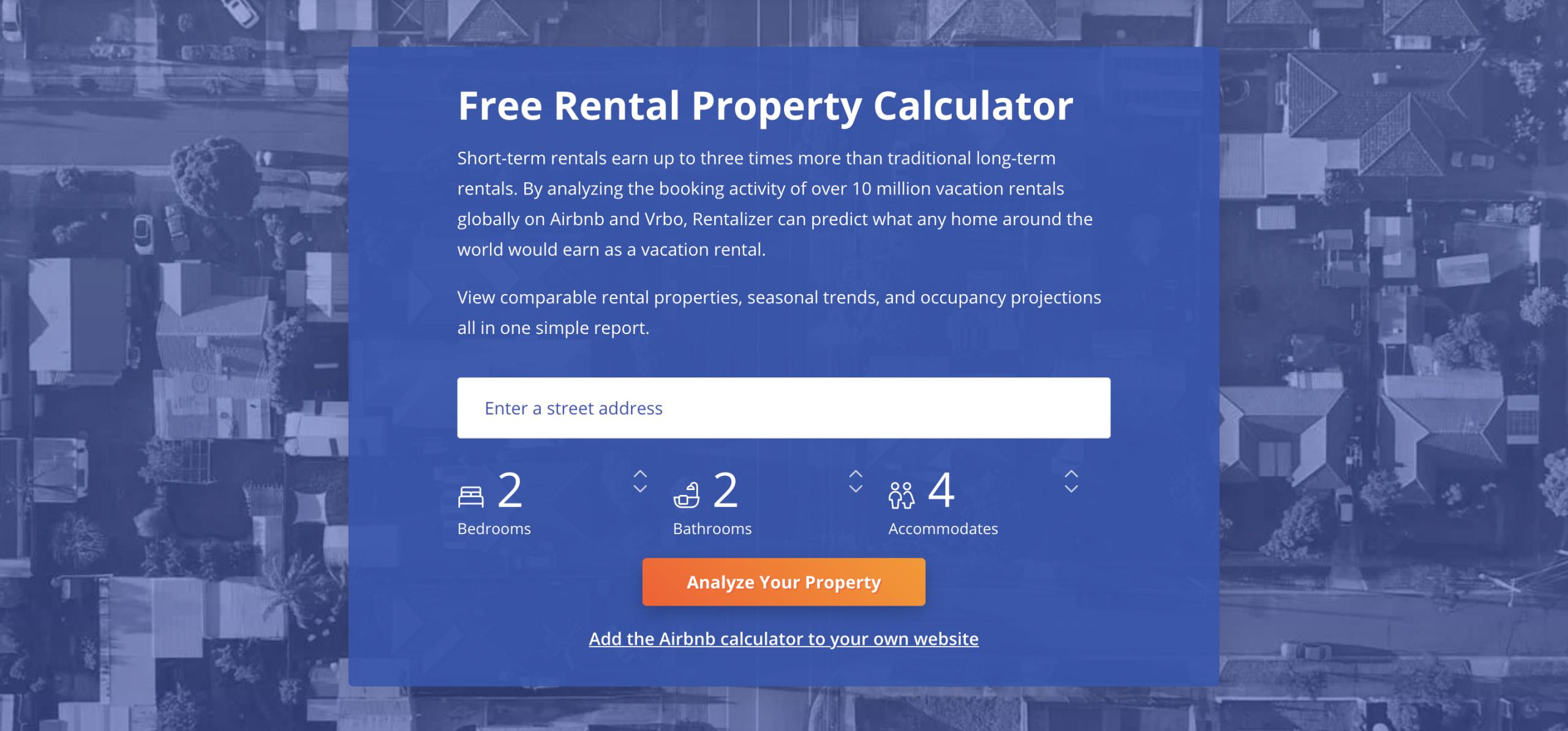 Image of a rental property calculator