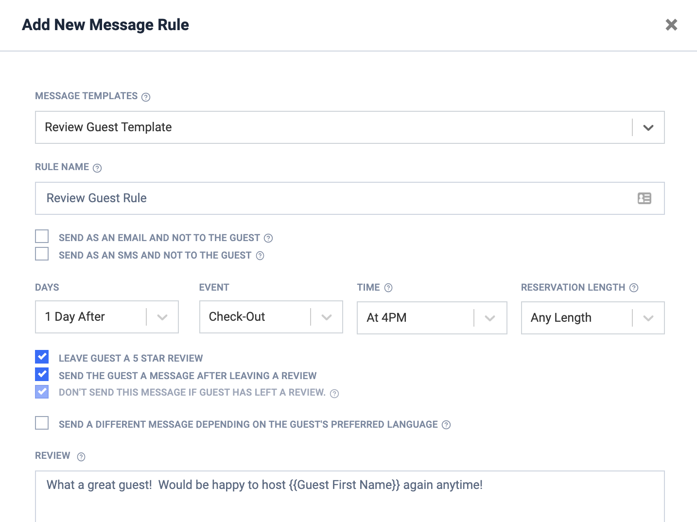 How to set up an automated Airbnb review in Host Tools