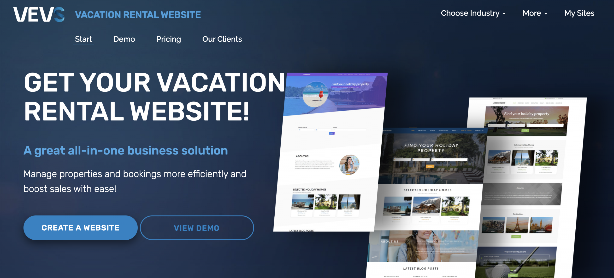 Image of Vebs website builder for short term vaction rental hosts