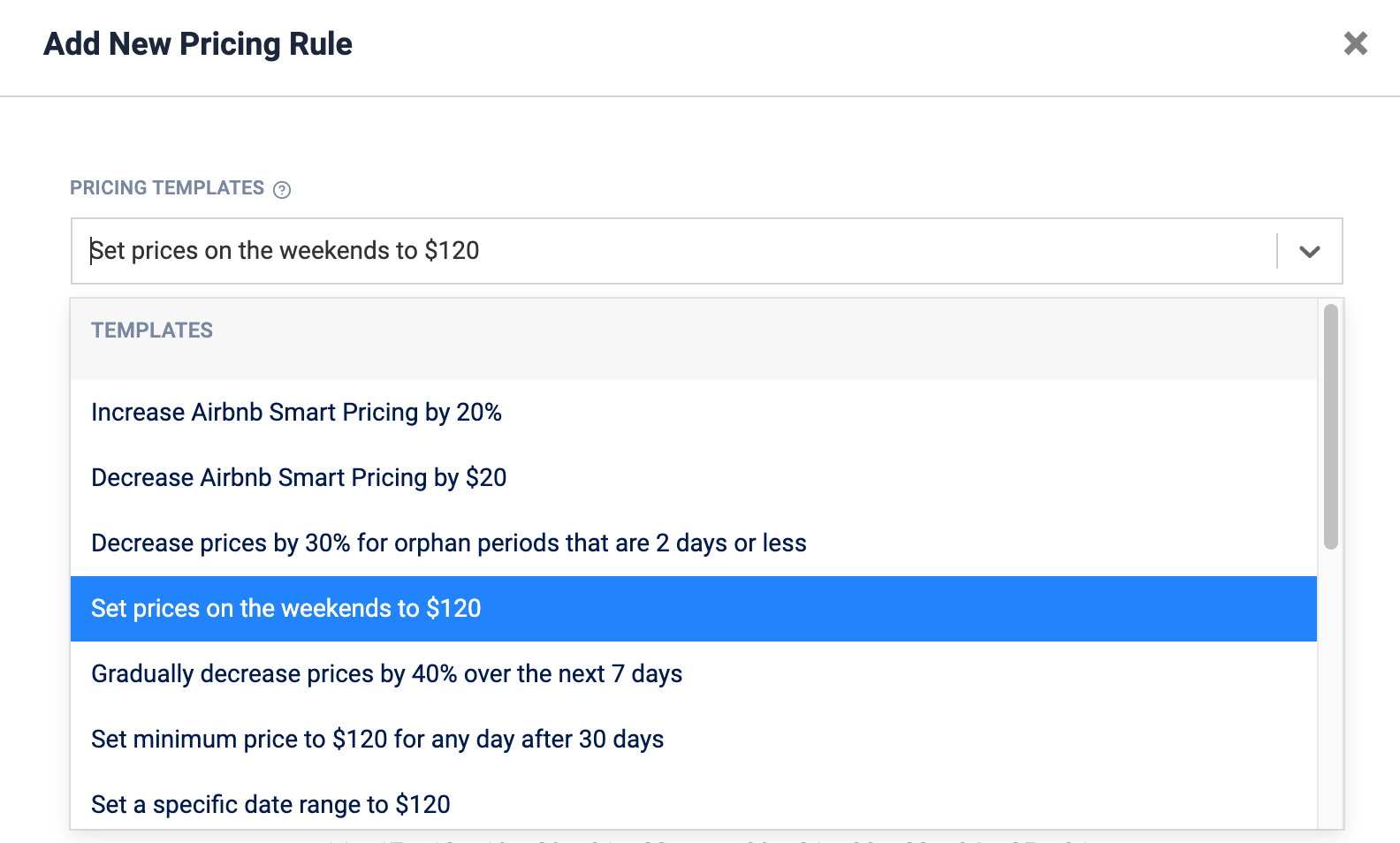 Choose a rule from the template or select a rule from a different listing